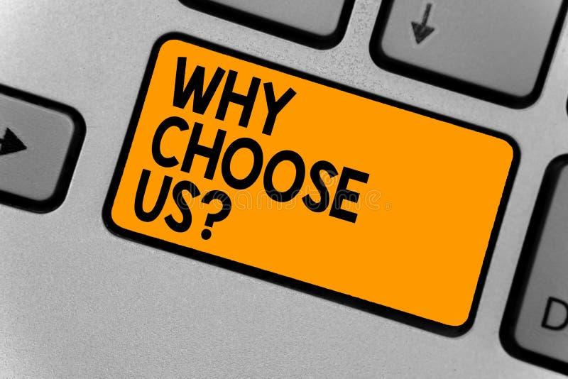 Słowa writing tekst Dlaczego Wybiera My pytanie Biznesowy pojęcie dla powodów dla wybierać nasz gatunek nad inny argument klawiat zdjęcie royalty free