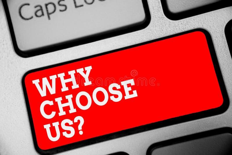 Słowa writing tekst Dlaczego Wybiera My pytanie Biznesowy pojęcie dla powodów dla wybierać nasz gatunek nad inny argument Klawiat obrazy royalty free