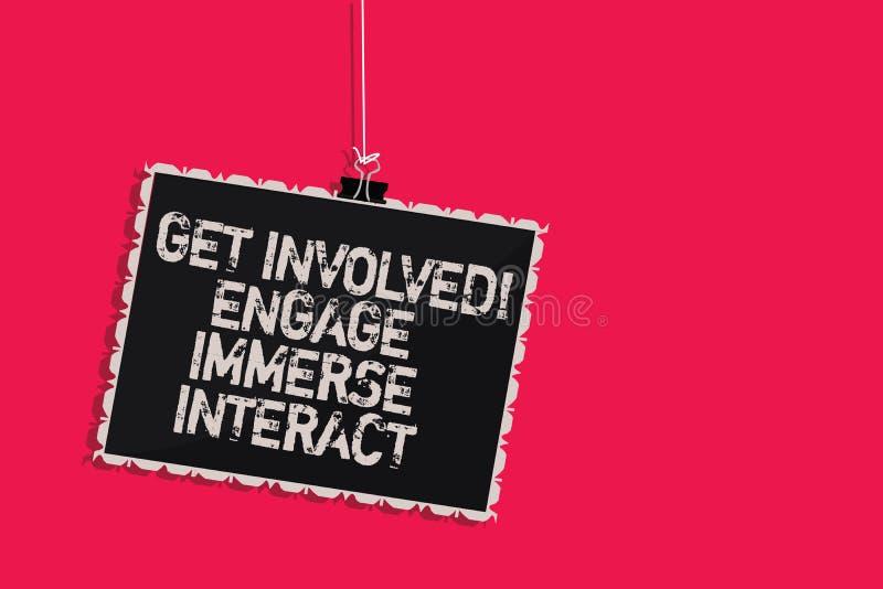 Słowa writing tekst Dostaje Zaangażowanym Angażuje Immerse antrakt Biznesowy pojęcie dla Łączę Łączy Uczestniczy w projekta Wiesz ilustracji