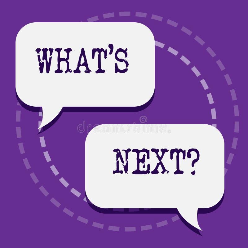 Słowa writing tekst Jaki s Następny pytanie Biznesowy pojęcie dla pytać demonstrować o jego nadchodzących zachowaniach lub akcjac ilustracja wektor