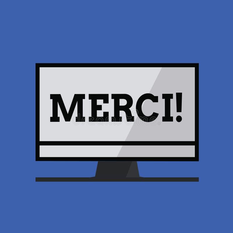 Słowa writing tekst Merci Biznesowy pojęcie dla definiujący jak dziękuje ty w Francuskim języku Jest wdzięczny someone ilustracja wektor