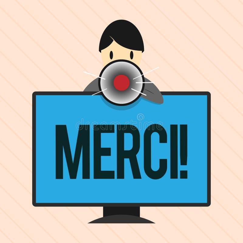 Słowa writing tekst Merci Biznesowy pojęcie dla definiujący jak dziękuje ty w Francuskim języku Jest wdzięczny someone ilustracji