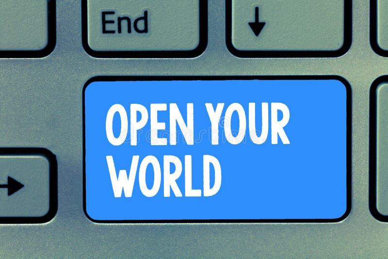 Słowa writing tekst Otwiera Twój świat Biznesowy pojęcie dla Poszerzam twój mentalność od jakaś negatywnościa i umysł royalty ilustracja