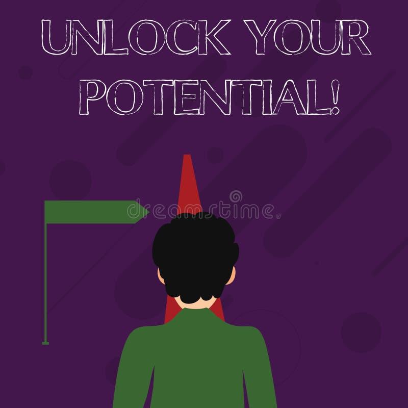 Słowa writing tekst Otwiera Twój potencjał Biznesowy pojęcie dla Wyjawiałem talentu Rozwija zdolności przedstawienie demonstratin ilustracja wektor