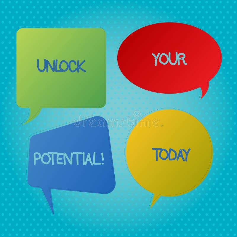 Słowa writing tekst Otwiera Twój potencjał Biznesowy pojęcie dla Wyjawiałem talentu Rozwija zdolności przedstawienie demonstratin ilustracji
