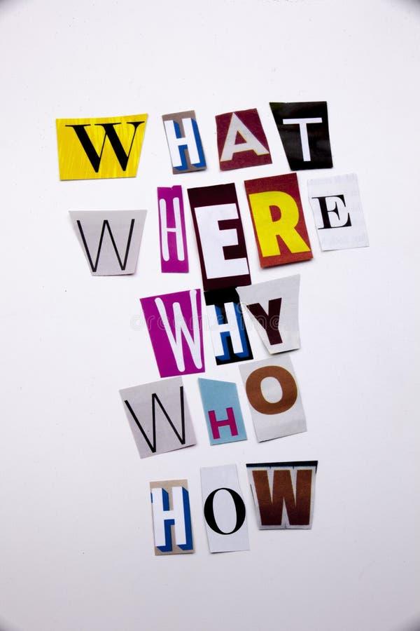 Słowa writing tekst pokazuje pojęcie JAKI WHO DOKĄD DLACZEGO JAK pytania robić różny magazyn gazety list dla biznesu c obraz stock