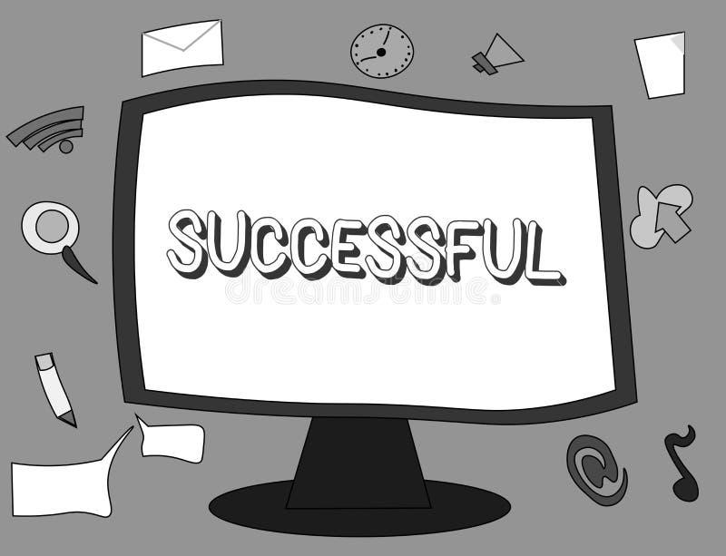 Słowa writing tekst Pomyślny Biznesowy pojęcie dla Osiągać pragnącego cel rezultat Dokonującego sława status społecznego lub royalty ilustracja