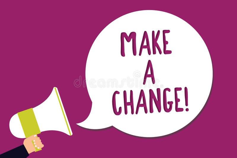 Słowa writing tekst Robi zmianie Biznesowy pojęcie dla próby nowej rzeczy Rozwija ewoluci ulepszenia przyrosta mężczyzna mienia D ilustracja wektor