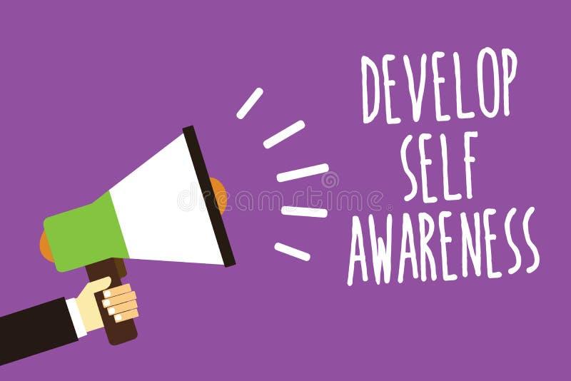 Słowa writing tekst Rozwija jaźni świadomość Biznesowy pojęcie dla przyrostowej świadomej wiedzy swój charakteru dźwięka mówcy al ilustracji