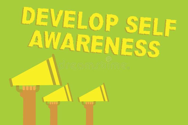 Słowa writing tekst Rozwija jaźni świadomość Biznesowy pojęcie dla przyrostowej świadomej wiedzy swój charakteru Trzy rozsądny gł ilustracji