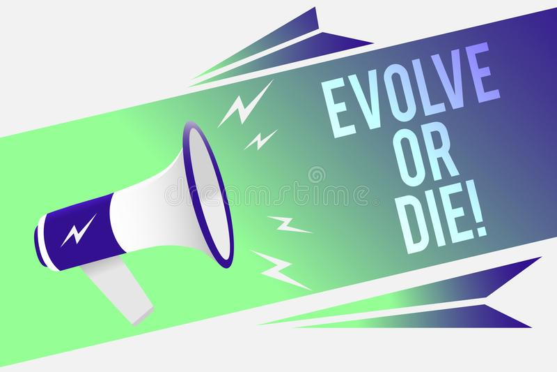 Słowa writing tekst Rozwija Lub Umiera Biznesowy pojęcie dla konieczności zmiana r adaptuje kontynuować żywego przetrwanie megafo ilustracja wektor