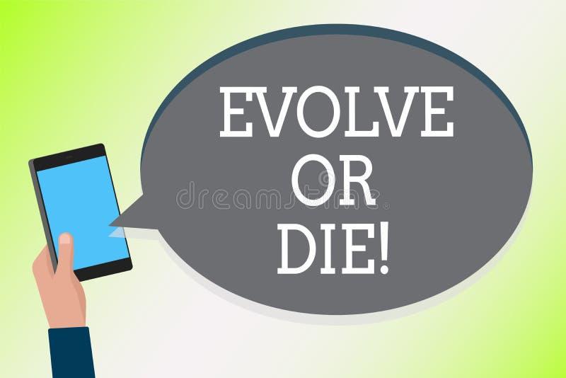 Słowa writing tekst Rozwija Lub Umiera Biznesowy pojęcie dla konieczności zmiana r adaptuje kontynuować żywego przetrwanie mężczy ilustracji