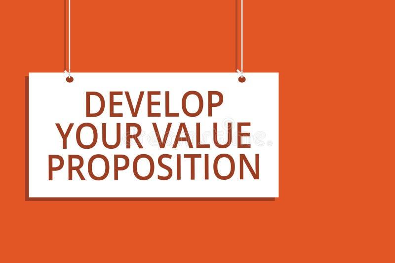 Słowa writing tekst Rozwija Twój wartości propozycję Biznesowy pojęcie dla Przygotowywałam strategii marketingowej namawianie do  royalty ilustracja
