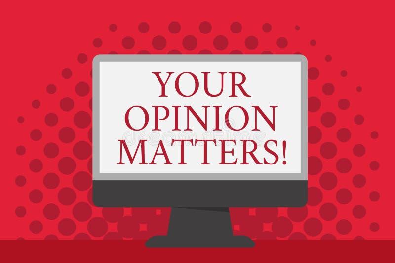Słowa writing tekst Twój opinii sprawy Biznesowy pojęcie dla klient informacje zwrotne przeglądów jest znacząco Pustej przestrzen ilustracja wektor