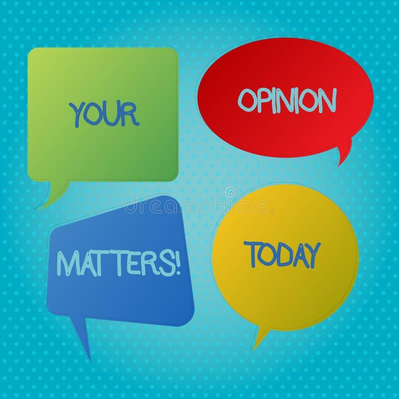Słowa writing tekst Twój opinii sprawy Biznesowy pojęcie dla klient informacje zwrotne przeglądów jest znacząco Pustym mowy bąble royalty ilustracja