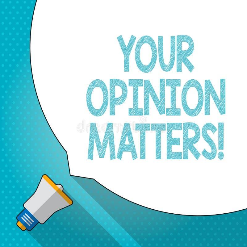 Słowa writing tekst Twój opinii sprawy Biznesowy pojęcie dla przedstawienia ty ty no zgadzasz się z coś który właśnie mówić royalty ilustracja