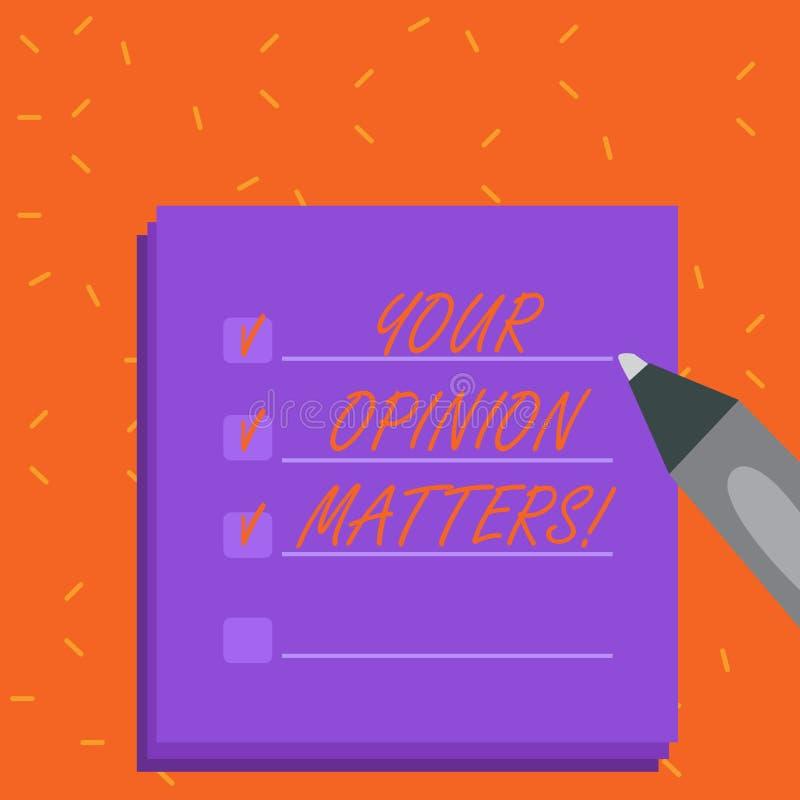 Słowa writing tekst Twój opinii sprawy Biznesowy pojęcie Robić dla klient informacje zwrotne przeglądów jest znacząco Pusty Kolor ilustracji