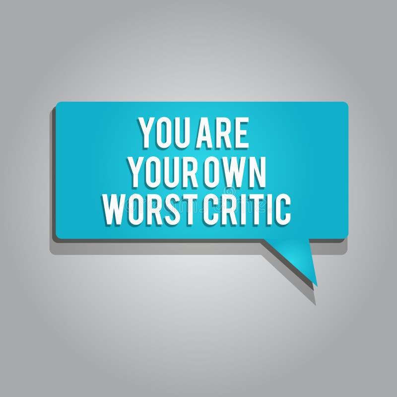 Słowa writing tekst Ty Jesteś Twój Swój Złym krytykiem Biznesowy pojęcie dla zbyt mocno na jaźni Nie Pozytywna informacje zwrotne ilustracji