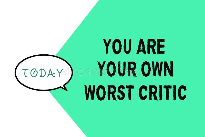 Słowa writing tekst Ty Jesteś Twój Swój Złym krytykiem Biznesowy pojęcie dla zbyt mocno na jaźni Nie Pozytywna informacje zwrotne royalty ilustracja