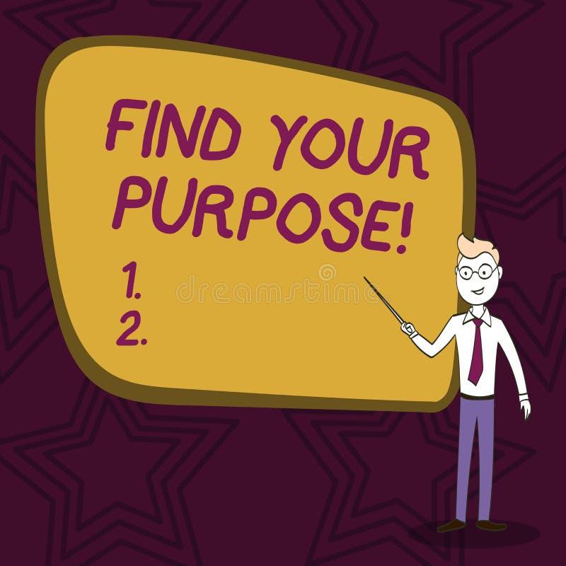 Słowa writing tekst Znajduje Twój Purpose Biznesowy pojęcie dla powodu dla coś zrobi dla lub czego wciąż istnieje ilustracja wektor