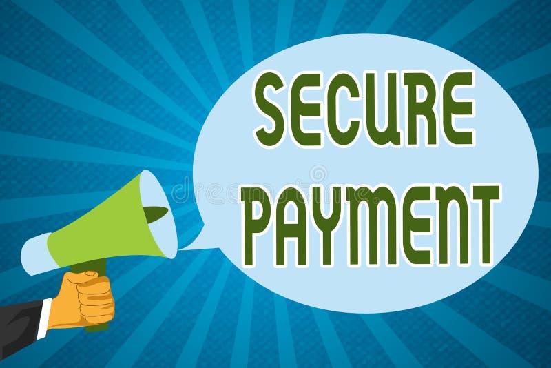 Słowa writing teksta Bezpiecznie zapłata Biznesowy pojęcie dla ochrony zapłata nawiązywać do zapewniać opłacony parzysty, równy w royalty ilustracja