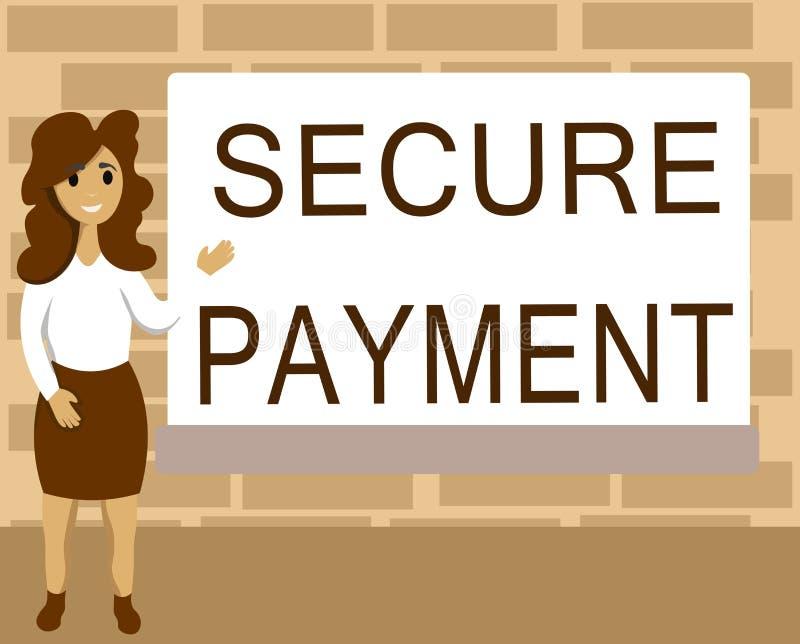 Słowa writing teksta Bezpiecznie zapłata Biznesowy pojęcie dla ochrony zapłata nawiązywać do zapewniać opłacony parzysty, równy w ilustracji