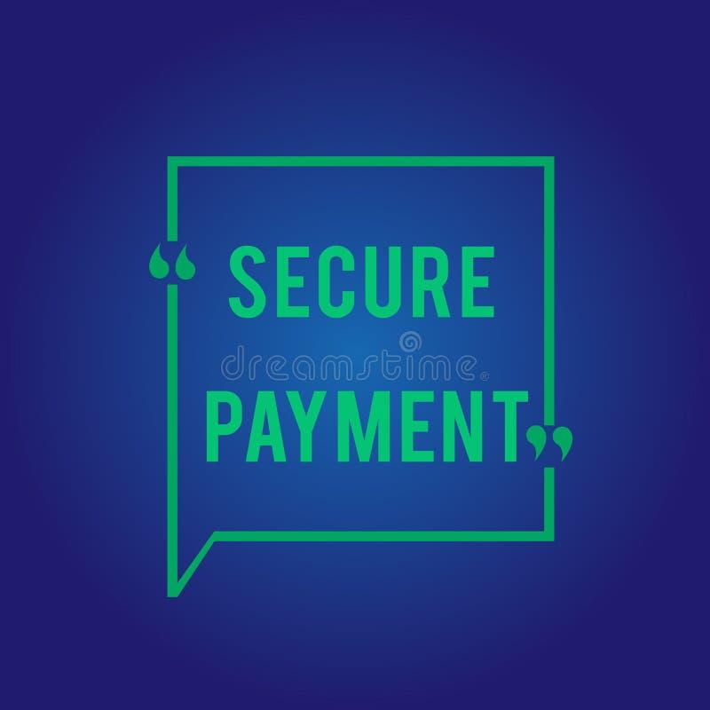 Słowa writing teksta Bezpiecznie zapłata Biznesowy pojęcie dla ochrony zapłata nawiązywać do zapewniać opłacony parzysty, równy w ilustracja wektor