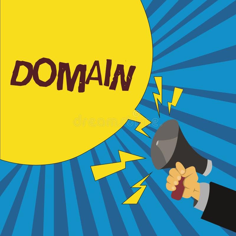 Słowa writing teksta domena Biznesowy pojęcie dla odrębnego podzbioru internet z adresami dzieli pospolitego przyrostek ilustracja wektor