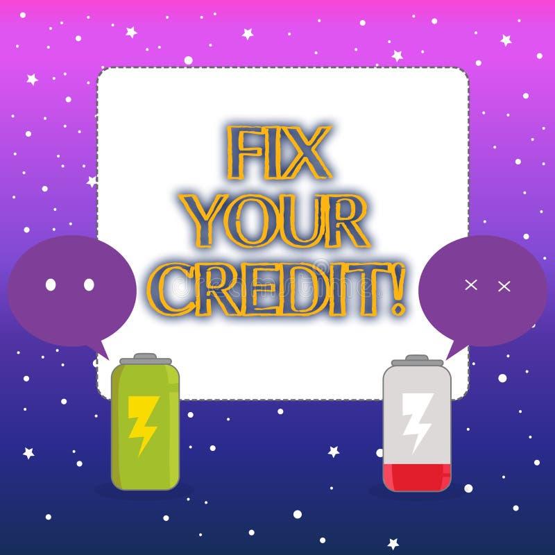 Słowa writing teksta dylemat Twój kredyt Biznesowy pojęcie dla załatwiać biedną kredytową pozycję marniał różnych powody W pełni royalty ilustracja