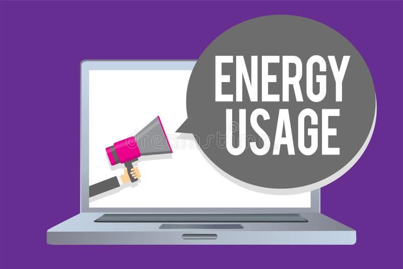 Słowa writing teksta energii użycie Biznesowy pojęcie dla kwoty spożywającej lub używać w mężczyzna mienia megaphon energia proce royalty ilustracja