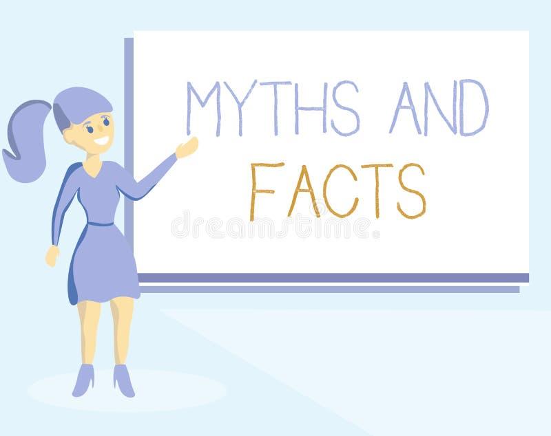 Słowa writing teksta fact I mity Biznesowy pojęcie dla Oppositive pojęcia o nowożytnym i antycznym okresie royalty ilustracja