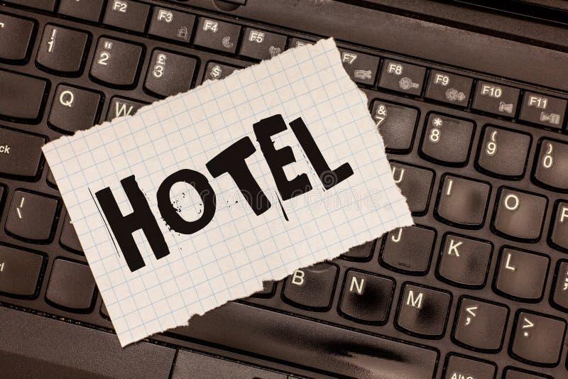 Słowa writing teksta hotel Biznesowy pojęcie dla założenia providing zakwaterowanie posiłków usługa dla podróżników obrazy royalty free