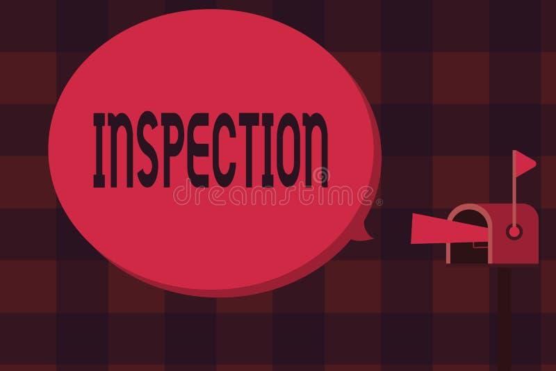 Słowa writing teksta inspekcja Biznesowy pojęcie dla Ostrożnego egzaminu lub analizy dochodzenia przeglądu cenienia ilustracji