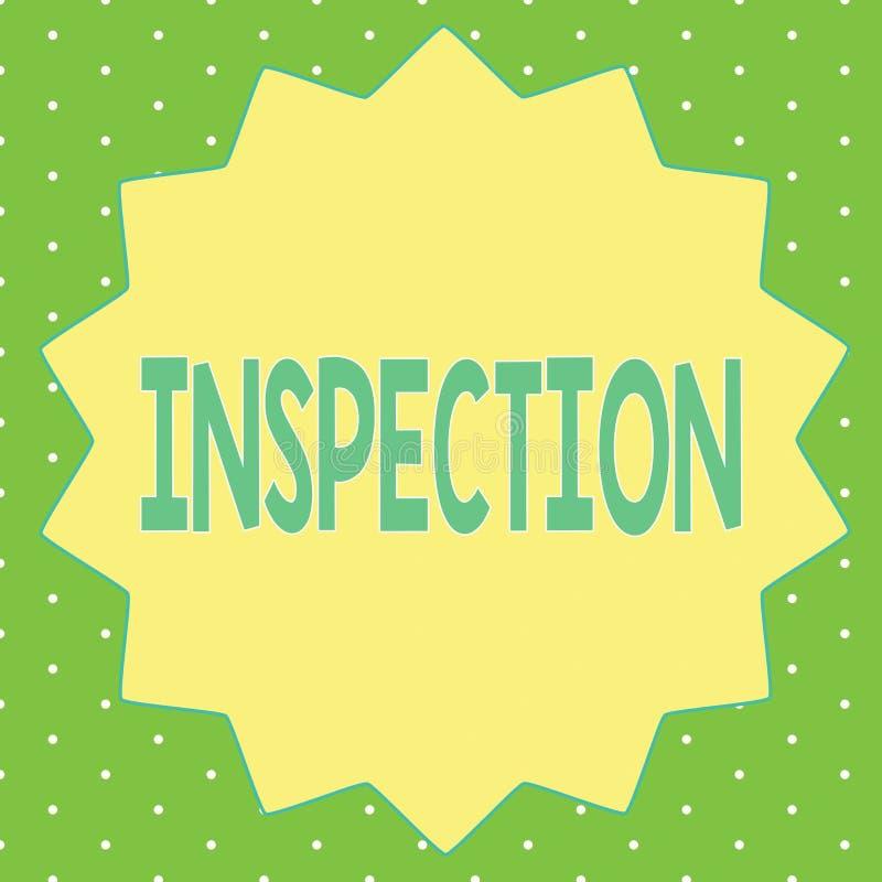 Słowa writing teksta inspekcja Biznesowy pojęcie dla Ostrożnego egzaminu lub analizy dochodzenia przeglądu cenienia ilustracja wektor