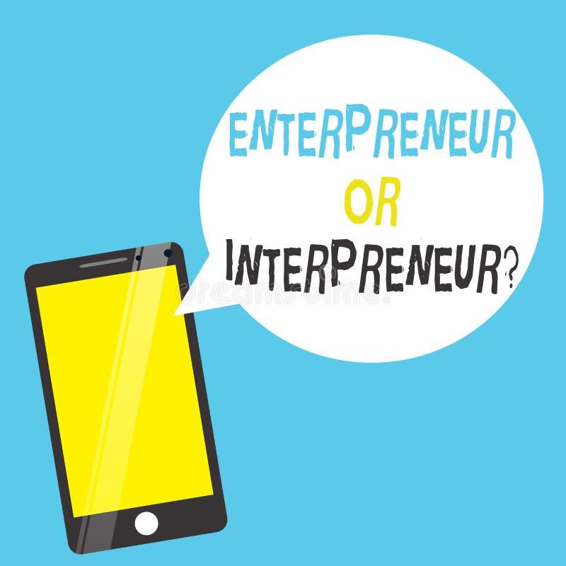 Słowa writing teksta Intrepreneur Lub przedsiębiorcy pytanie Biznesowy pojęcie dla Nowego trakenu producent wśród firmy ilustracji