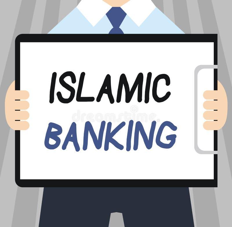 Słowa writing teksta Islamska bankowość Biznesowy pojęcie dla systemu bankowego opierającego się na zasadach Islamski prawo ilustracji