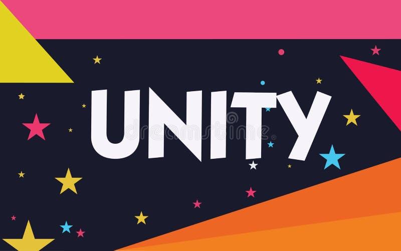 Słowa writing teksta jedność Biznesowy pojęcie dla stanu jednoczący lub łączy jako cały zostać jeden osobą royalty ilustracja