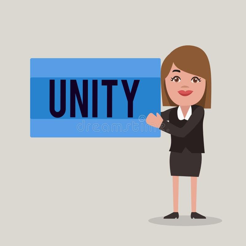 Słowa writing teksta jedność Biznesowy pojęcie dla stanu jednoczący lub łączy jako cały zostać jeden osobą ilustracja wektor