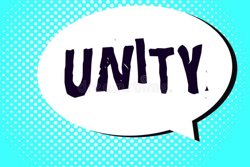 Słowa writing teksta jedność Biznesowy pojęcie dla stanu jednoczący lub łączy jako cały zostać jeden osobą ilustracji