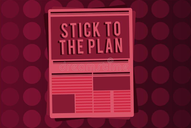 Słowa writing teksta kij plan Biznesowy pojęcie dla przylegać niektóre plan i no zbaczać od go Podąża royalty ilustracja