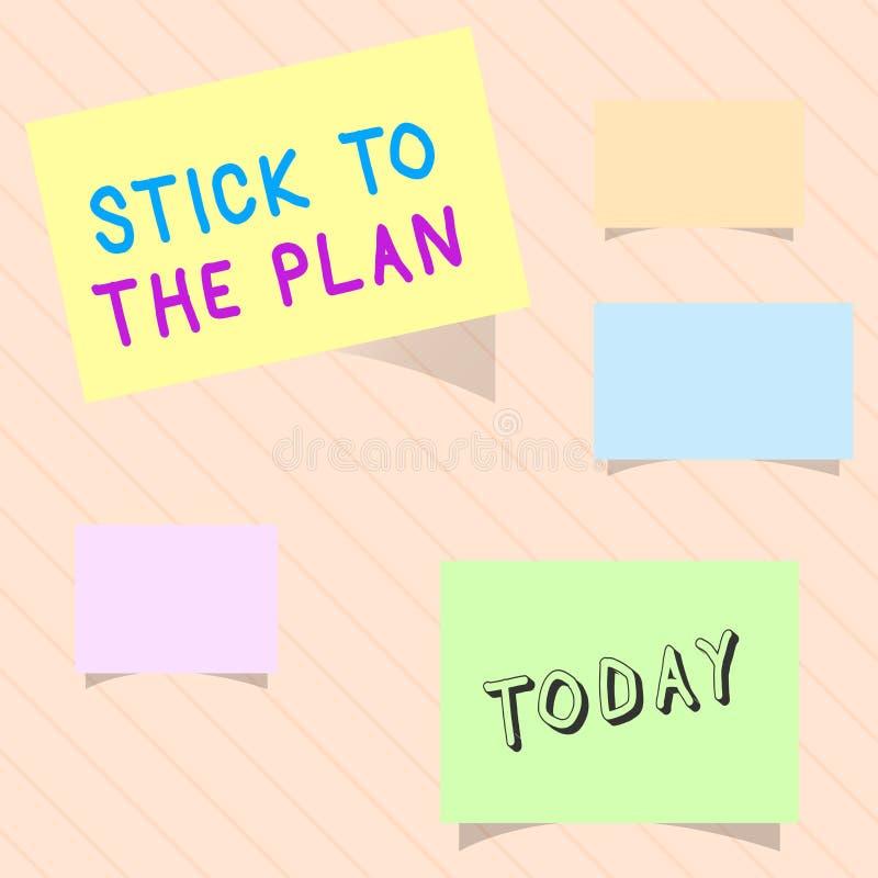 Słowa writing teksta kij plan Biznesowy pojęcie dla przylegać niektóre plan i no zbaczać od go Podąża ilustracja wektor