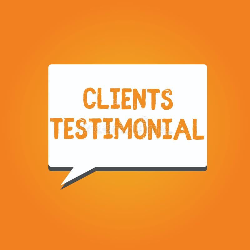 Słowa writing teksta klientów Testimonial Biznesowy pojęcie dla Formalnego oświadczenia Zeznaje Szczerego poparcie Inny ilustracji