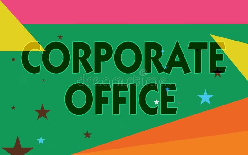 Słowa writing teksta Korporacyjny biuro Biznesowy pojęcie dla domowego działu który wspiera początkowych działy pośrednio ilustracja wektor