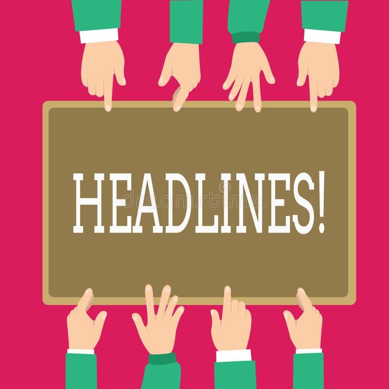 Słowa writing teksta nagłówki Biznesowy pojęcie dla Przewodzić przy wierzchołkiem artykuł strona w magazynie lub gazecie ilustracja wektor