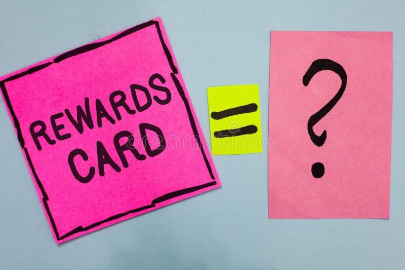 Słowa writing teksta nagród karta Biznesowy pojęcie dla pomocy zarabia gotówkowe punkt mily od codziennej zakupów bodzów menchii  obraz stock