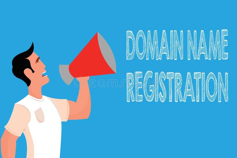 Słowa writing teksta nazwy domeny rejestracja Biznesowy pojęcie dla Swój adres ip Utożsamia szczególnego Webpage ilustracji