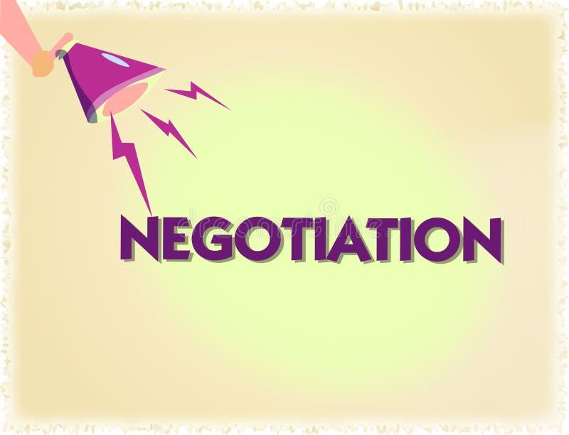 Słowa writing teksta negocjacja Biznesowy pojęcie dla dyskusi celującej przy dojechanie zgody przeniesienia legalnym posiadaniem royalty ilustracja