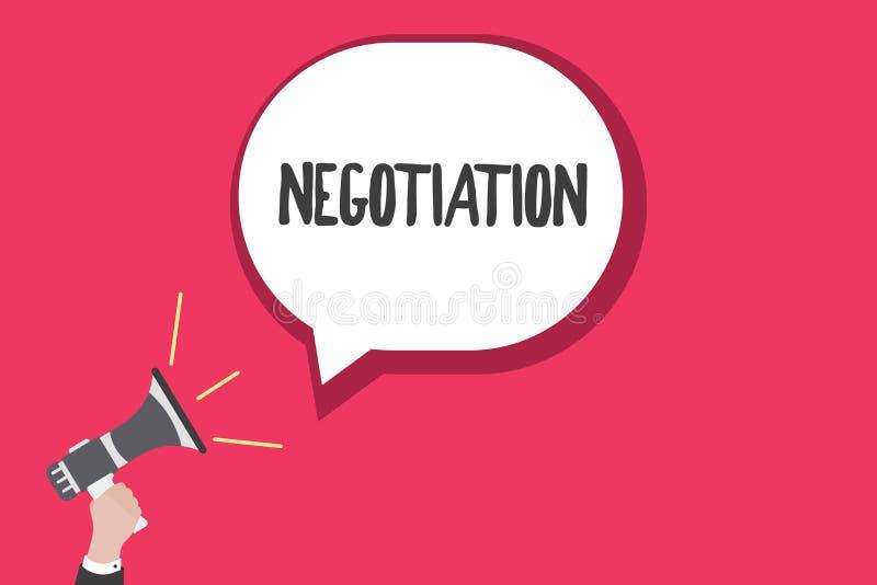 Słowa writing teksta negocjacja Biznesowy pojęcie dla dyskusi celującej przy dojechanie zgody przeniesienia legalnym posiadaniem ilustracja wektor
