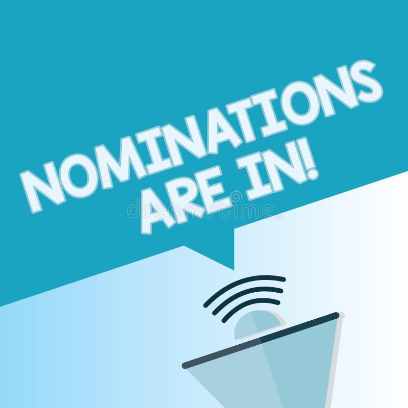 Słowa writing teksta nominacje Są Wewnątrz Biznesowy pojęcie dla Formalnie Wybierać someone Oficjalny kandydat dla nagrody ilustracja wektor