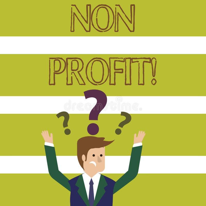 Słowa writing teksta Non zysk Biznesowy pojęcie dla robić lub prowadzący pierwotnie robić zysk organizacji ilustracja wektor